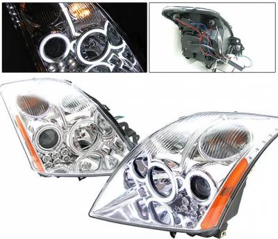 Headlights & Tail Lights - Headlights - 4 Car Option - Nissan Sentra 4 Car Option Halo Projector Headlights - Chrome CCFL - LP-NS07CF-KS