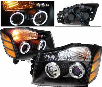 Headlights & Tail Lights - Headlights - 4 Car Option - Nissan Titan 4 Car Option Halo Projector Headlights - Black CCFL - LP-NTIT04BB-KS