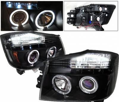 Headlights & Tail Lights - Headlights - 4 Car Option - Nissan Armada 4 Car Option Halo Projector Headlights - Black - LP-NTIT04BB-YD