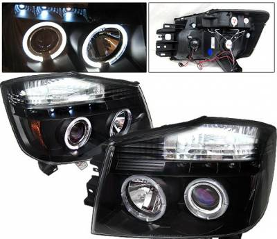 Headlights & Tail Lights - Headlights - 4 Car Option - Nissan Titan 4 Car Option Halo Projector Headlights - Black - LP-NTIT04BB-YD