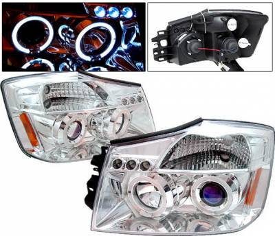 Headlights & Tail Lights - Headlights - 4 Car Option - Nissan Armada 4 Car Option LED Dual Halo Projector Headlights - Chrome - LP-NTIT04CB-5