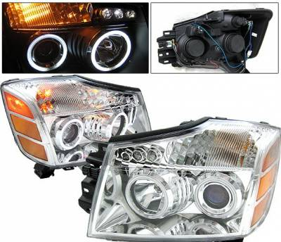 Headlights & Tail Lights - Headlights - 4 Car Option - Nissan Titan 4 Car Option Halo Projector Headlights - Chrome CCFL - LP-NTIT04CB-KS