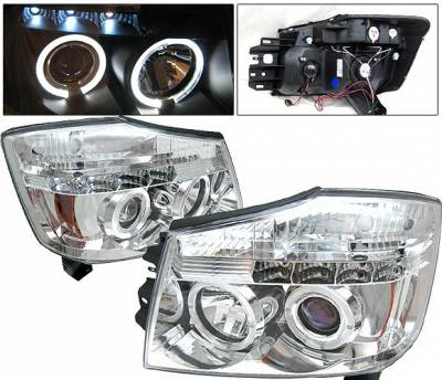 Headlights & Tail Lights - Headlights - 4 Car Option - Nissan Titan 4 Car Option Halo Projector Headlights - Chrome - LP-NTIT04CB-YD