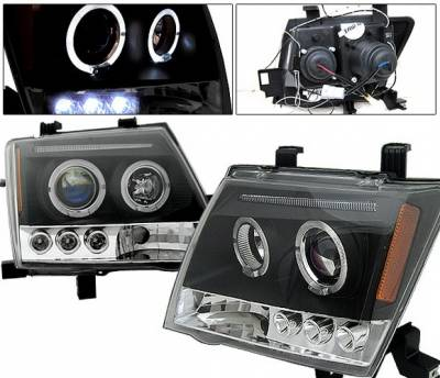 Headlights & Tail Lights - Headlights - 4 Car Option - Nissan Xterra 4 Car Option LED Halo Projector Headlights - Black - LP-NX05BB-5