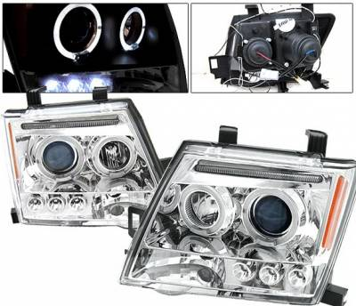 Headlights & Tail Lights - Headlights - 4 Car Option - Nissan Xterra 4 Car Option LED Halo Projector Headlights - Chrome - LP-NX05CB-5