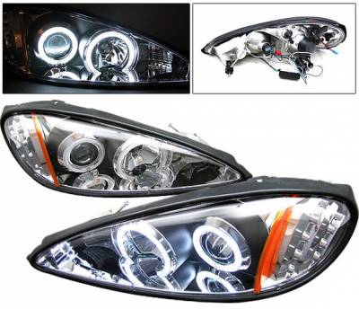 Headlights & Tail Lights - Headlights - 4 Car Option - Pontiac Grand Am 4 Car Option LED CCFL Halo Projector Headlights - Black - LP-PGAM99BC-KS