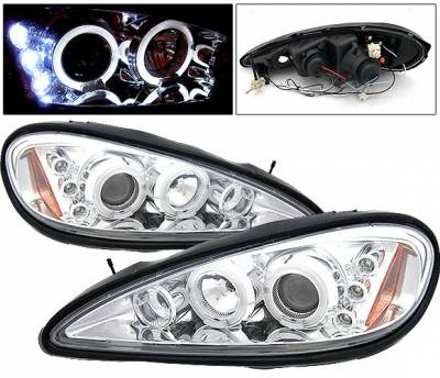 Headlights & Tail Lights - Headlights - 4 Car Option - Pontiac Grand Am 4 Car Option LED Halo Projector Headlights - Chrome - LP-PGAM99CC-5