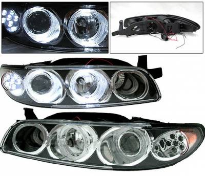 Headlights & Tail Lights - Headlights - 4 Car Option - Pontiac Grand Prix 4 Car Option Projector Headlights - Black - LP-PGPX97BC-1