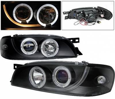 Headlights & Tail Lights - Headlights - 4 Car Option - Subaru Impreza 4 Car Option Dual Halo Projector Headlights - Black - LP-SI95BB-YD