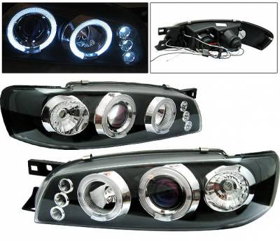 Headlights & Tail Lights - Headlights - 4 Car Option - Subaru Impreza 4 Car Option Dual Halo Projector Headlights - Black - LP-SI97BB-5