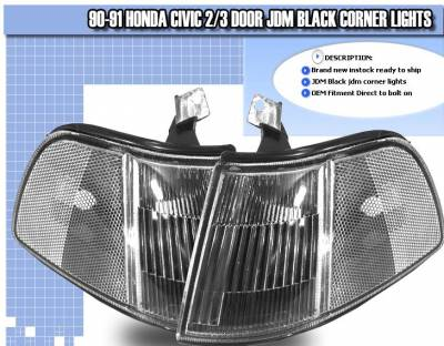 Headlights & Tail Lights - Corner Lights - Custom - JDM Black Corner Lights