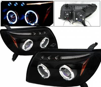 Headlights & Tail Lights - Headlights - 4 Car Option - Toyota 4Runner 4 Car Option Dual Halo Projector Headlights - Black - LP-T4R03BB-5