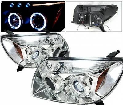 Headlights & Tail Lights - Headlights - 4 Car Option - Toyota 4Runner 4 Car Option Dual Halo Projector Headlights - Chrome - LP-T4R03CB-5