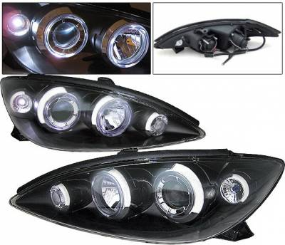 Headlights & Tail Lights - Headlights - 4 Car Option - Toyota Camry 4 Car Option Dual Halo Projector Headlights - Black - LP-TCA00B