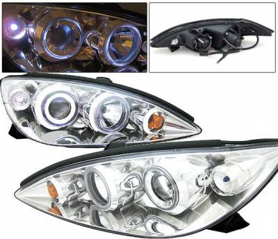 Headlights & Tail Lights - Headlights - 4 Car Option - Toyota Camry 4 Car Option Dual Halo Projector Headlights - Chrome - LP-TCA00C