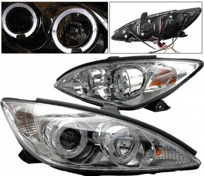 Headlights & Tail Lights - Headlights - 4 Car Option - Toyota Camry 4 Car Option Halo Projector Headlights - Chrome - LP-TCA02CC-YD