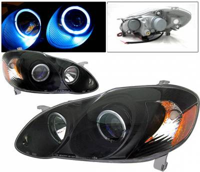 Headlights & Tail Lights - Headlights - 4 Car Option - Toyota Corolla 4 Car Option Dual Halo Projector Headlights - Black - LP-TCL03BB-KS