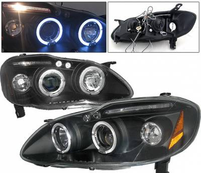 Headlights & Tail Lights - Headlights - 4 Car Option - Toyota Corolla 4 Car Option LED Halo Projector Headlights - Black - LP-TCL03BC-5