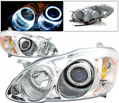 Headlights & Tail Lights - Headlights - 4 Car Option - Toyota Corolla 4 Car Option Dual Halo Projector Headlights - Chrome - LP-TCL03CB-KS