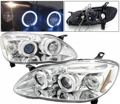 Headlights & Tail Lights - Headlights - 4 Car Option - Toyota Corolla 4 Car Option LED Halo Projector Headlights - Chrome - LP-TCL03CC-5