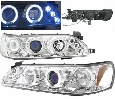 Headlights & Tail Lights - Headlights - 4 Car Option - Toyota Corolla 4 Car Option LED Halo Projector Headlights - Chrome - 1PC - LP-TCL93CC-5