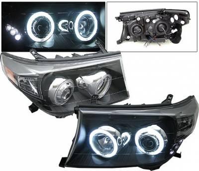 Headlights & Tail Lights - Headlights - 4 Car Option - Toyota Land Cruiser 4 Car Option CCFL Halo Headlights - Black - LP-TLC08BF-KS