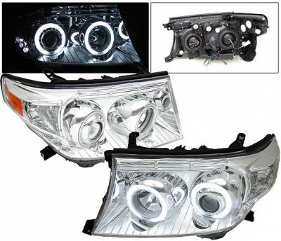 Headlights & Tail Lights - Headlights - 4 Car Option - Toyota Land Cruiser 4 Car Option CCFL Halo Headlights - Chrome - LP-TLC08CF-KS