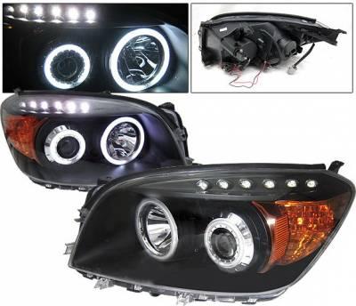 Headlights & Tail Lights - Headlights - 4 Car Option - Toyota Rav 4 4 Car Option Halo Projector Headlights - Black CCFL - LP-TRAV406BB-KS