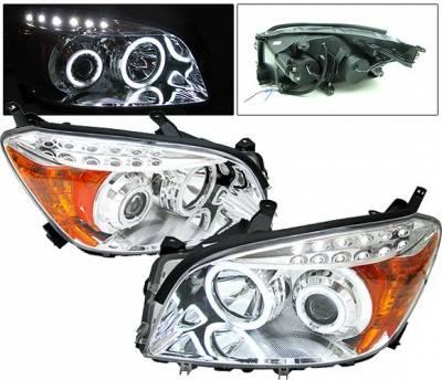 Headlights & Tail Lights - Headlights - 4 Car Option - Toyota Rav 4 4 Car Option CCFL Halo Projector Headlights - Chrome - LP-TRAV406CB-KS