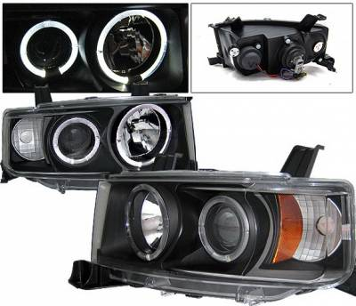 Headlights & Tail Lights - Headlights - 4 Car Option - Scion xB 4 Car Option Dual Halo Projector Headlights - Black - LP-TS02BB-YD
