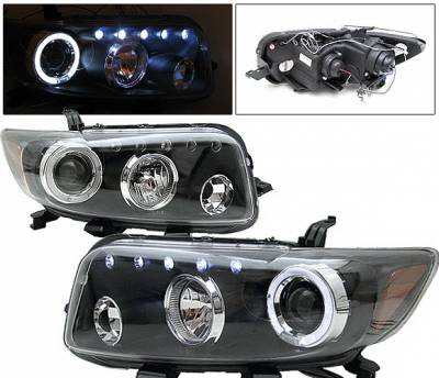 Headlights & Tail Lights - Headlights - 4 Car Option - Scion xB 4 Car Option Dual Halo LED Projector Headlights - Black - LP-TS08BB-5