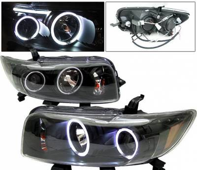 Headlights & Tail Lights - Headlights - 4 Car Option - Scion xB 4 Car Option Halo Projector Headlights - Black CCFL - LP-TS08BC-KS