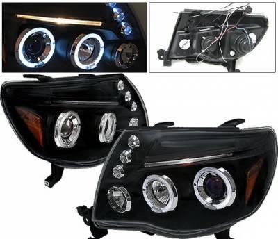 Headlights & Tail Lights - Headlights - 4 Car Option - Toyota Tacoma 4 Car Option Dual Halo Projector Headlights - Black - LP-TTA05BB-5