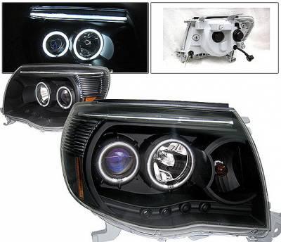 Headlights & Tail Lights - Headlights - 4 Car Option - Toyota Tacoma 4 Car Option Halo Projector Headlights - Black CCFL - LP-TTA05BB-KS