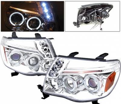 Headlights & Tail Lights - Headlights - 4 Car Option - Toyota Tacoma 4 Car Option Dual Halo Projector Headlights - Chrome - LP-TTA05CB-5