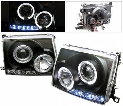 Headlights & Tail Lights - Headlights - 4 Car Option - Toyota Tacoma 4 Car Option Halo Projector Headlights - Black - LP-TTA97B-YD