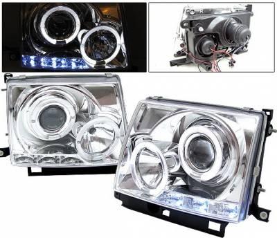 Headlights & Tail Lights - Headlights - 4 Car Option - Toyota Tacoma 4 Car Option Halo Projector Headlights - Chrome - LP-TTA97C-YD