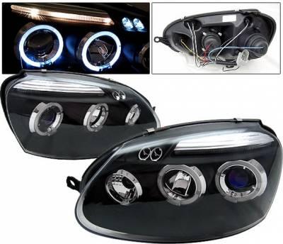 Headlights & Tail Lights - Headlights - 4 Car Option - Volkswagen Golf 4 Car Option Halo Projector Headlights - Black - LP-VG05BB-5