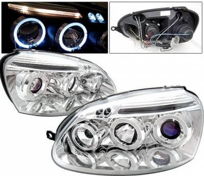 Headlights & Tail Lights - Headlights - 4 Car Option - Volkswagen Golf 4 Car Option Halo Projector Headlights - Chrome - LP-VG05CB-5