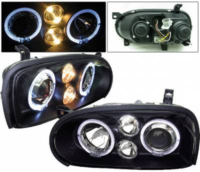 Headlights & Tail Lights - Headlights - 4 Car Option - Volkswagen Golf 4 Car Option Halo Projector Headlights - Black - LP-VG92BB-5