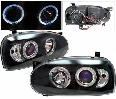 Headlights & Tail Lights - Headlights - 4 Car Option - Volkswagen Golf 4 Car Option Halo Projector Headlights - Black - LP-VG92BB-YD