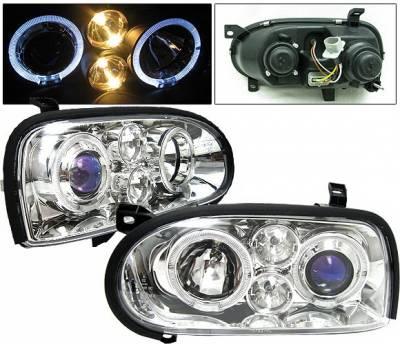 Headlights & Tail Lights - Headlights - 4 Car Option - Volkswagen Golf 4 Car Option Halo Projector Headlights - Chrome - LP-VG92CB-5