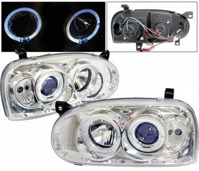 Headlights & Tail Lights - Headlights - 4 Car Option - Volkswagen Golf 4 Car Option Halo Projector Headlights - Chrome - LP-VG92CB-YD