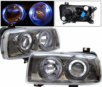 Headlights & Tail Lights - Headlights - 4 Car Option - Volkswagen Jetta 4 Car Option Halo Projector Headlights - Titanium - LP-VJ93DT-9