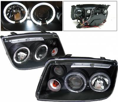 Headlights & Tail Lights - Headlights - 4 Car Option - Volkswagen Jetta 4 Car Option Halo Projector Headlights - Black - LP-VJ99BC-YD