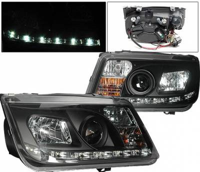 Headlights & Tail Lights - Headlights - 4 Car Option - Volkswagen Jetta 4 Car Option Projector Headlights - R8 DRL - Black - LP-VJ99BDR-YD