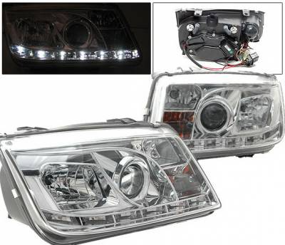 Headlights & Tail Lights - Headlights - 4 Car Option - Volkswagen Jetta 4 Car Option Projector Headlights - R8 DRL - Chrome - LP-VJ99CDR-YD