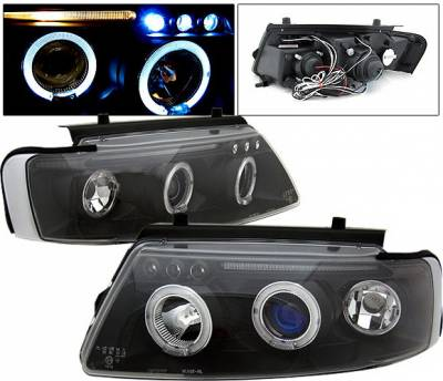 Headlights & Tail Lights - Headlights - 4 Car Option - Volkswagen Passat 4 Car Option LED Halo Projector Headlights - Black - LP-VP97BB-5