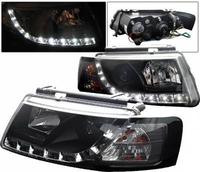 Headlights & Tail Lights - Headlights - 4 Car Option - Volkswagen Passat 4 Car Option Projector Headlights - R8 DRL - Black - LP-VP97BDR-YD
