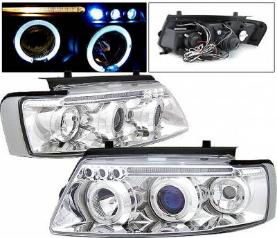 Headlights & Tail Lights - Headlights - 4 Car Option - Volkswagen Passat 4 Car Option LED Halo Projector Headlights - Chrome - LP-VP97CB-5